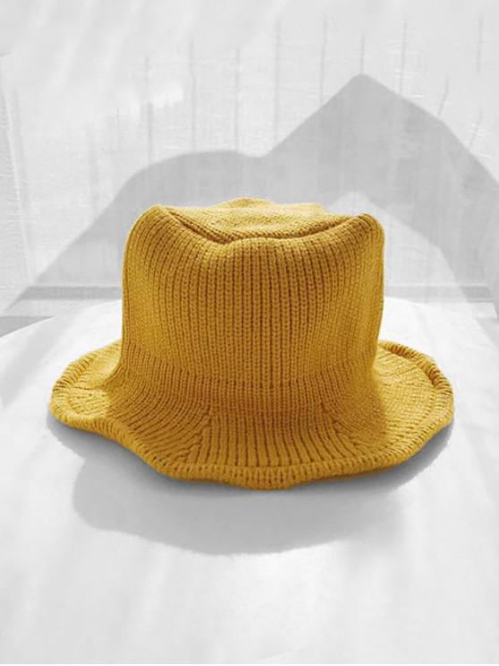 fashion Solid Knitted Winter Bucket Hat - YELLOW