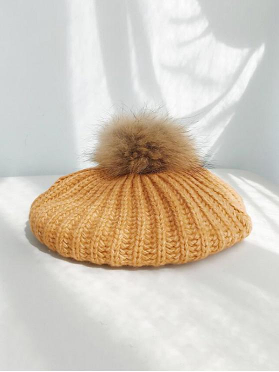 chic Winter Knitted Woolen Yarn Beret Hat - PAPAYA ORANGE