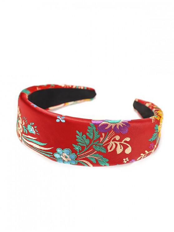 絲綢刺繡中國新年玫瑰花頭飾 - 紅
