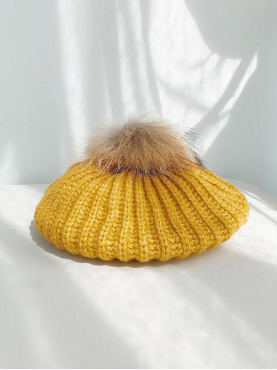 ladies Winter Knitted Woolen Yarn Beret Hat - YELLOW