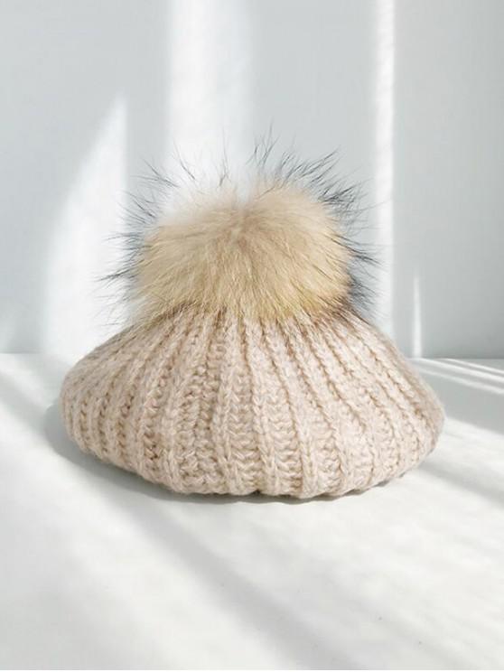 shop Winter Knitted Woolen Yarn Beret Hat - KHAKI