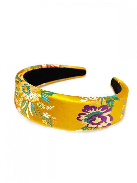 絲綢刺繡中國新年玫瑰花頭飾 - 黃色