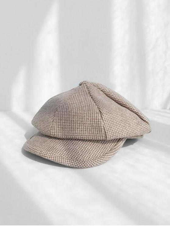 fancy Octagonal Peaked Beret Hat - COFFEE