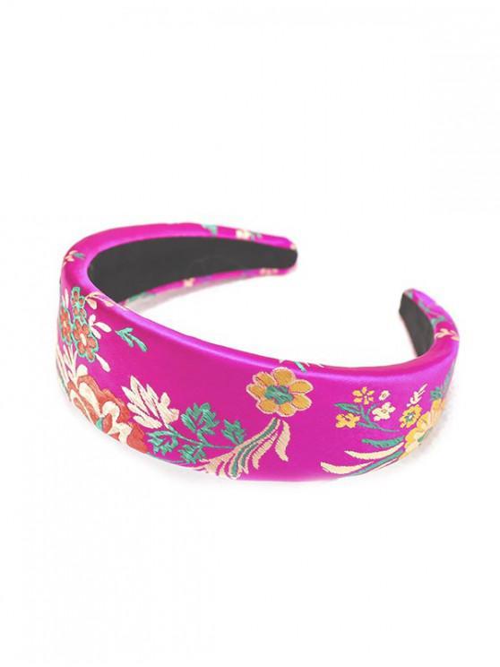 絲綢刺繡中國新年玫瑰花頭飾 - 玫瑰紅