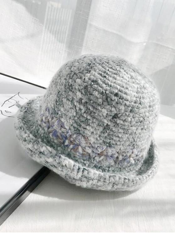 trendy Winter Street Hand-crochet Knitted Wool Round Cap - DARK GRAY