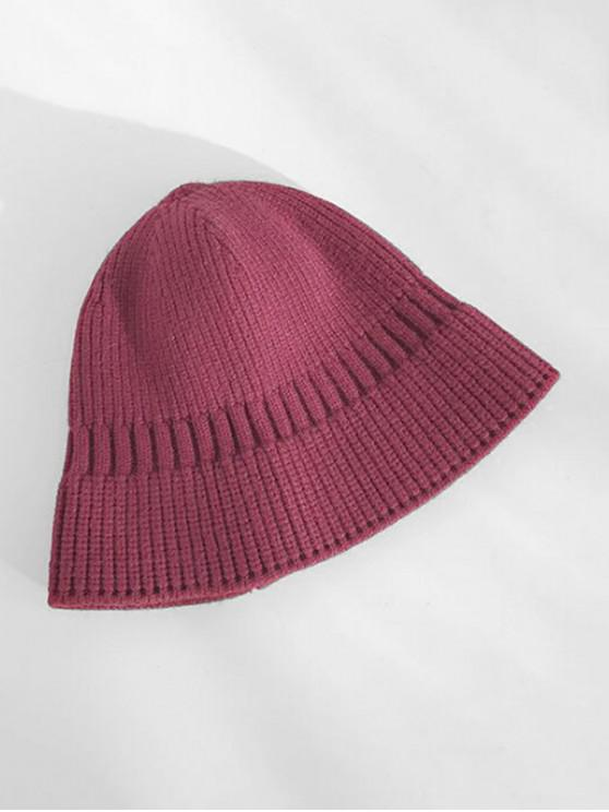 women's Winter Casual Knitted Elastic Hat - RED WINE
