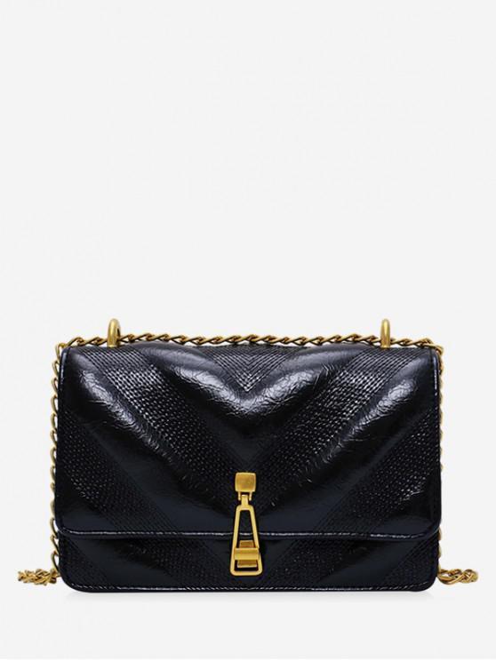 hot Leather Chain Zipper Decorated Shoulder Bag - BLACK