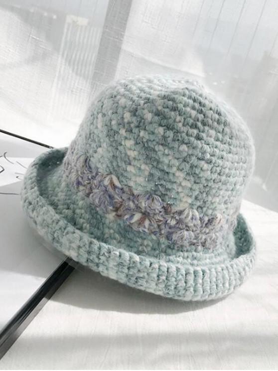 sale Winter Street Hand-crochet Knitted Wool Round Cap - MACAW BLUE GREEN