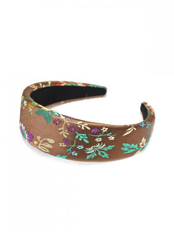 buy Silk Embroidery Chinese New Year Rose Headband - COFFEE