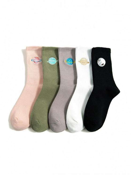 lady 5 Pairs Cartoon Embroidery Crew Length Socks - MULTI-A