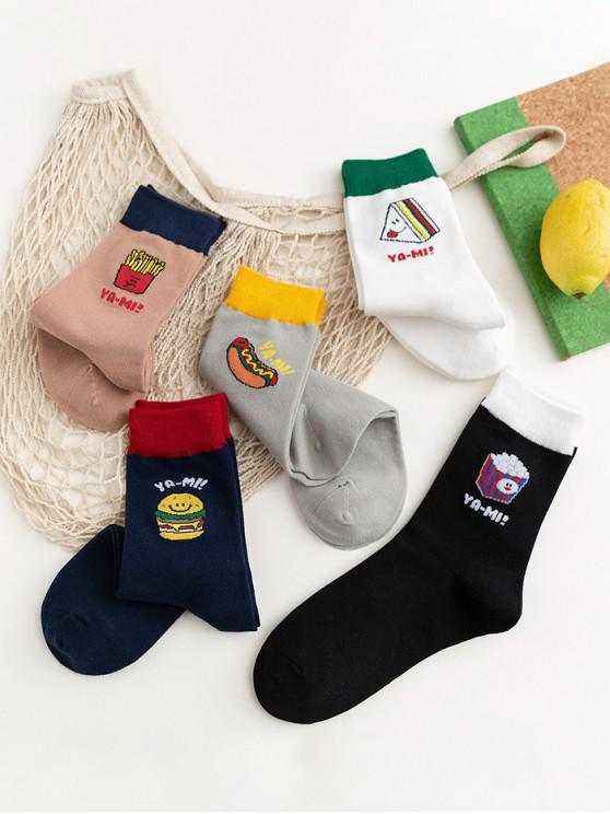 best 5Pairs Cartoon Food Print Sports Socks Set - MULTI-A