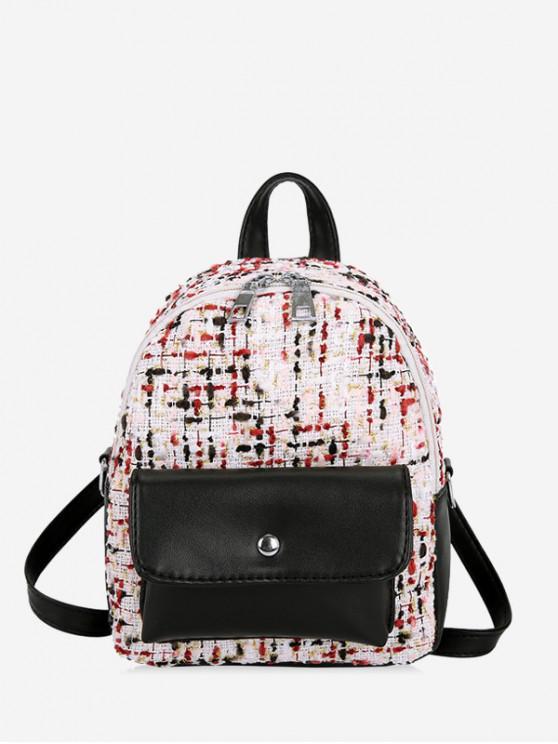 womens Flap Pocket Mini Boucle Backpack - BLACK