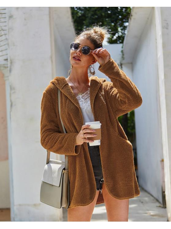 fancy Solid Color Pockets Hooded Teddy Coat - LIGHT BROWN L