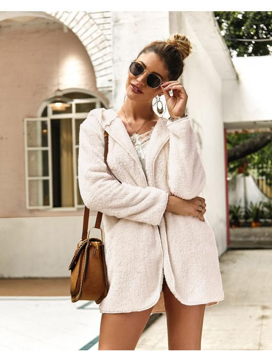 hot Solid Color Pockets Hooded Teddy Coat - WHITE M