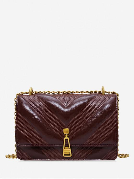 outfit Leather Chain Zipper Decorated Shoulder Bag - COFFEE