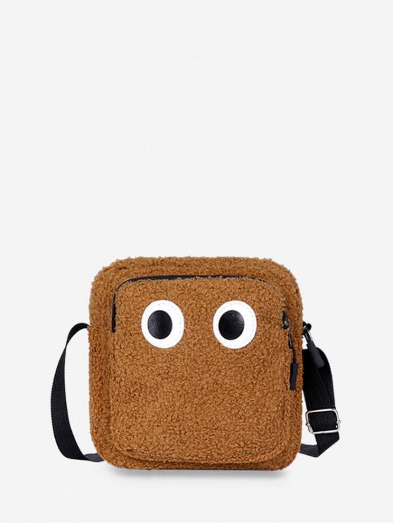 fashion Cute Eye Plush Mini Crossbody Bag - LIGHT BROWN