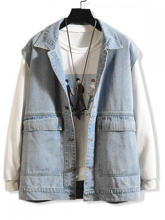 latest Solid Color Pocket Casual Denim Waistcoat - LIGHT BLUE XL