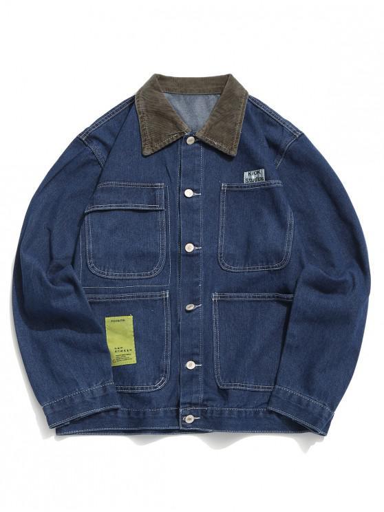Buchstabe Muster Tasche Dekoration Jeansjacke - Blaue Koifisch 2XL