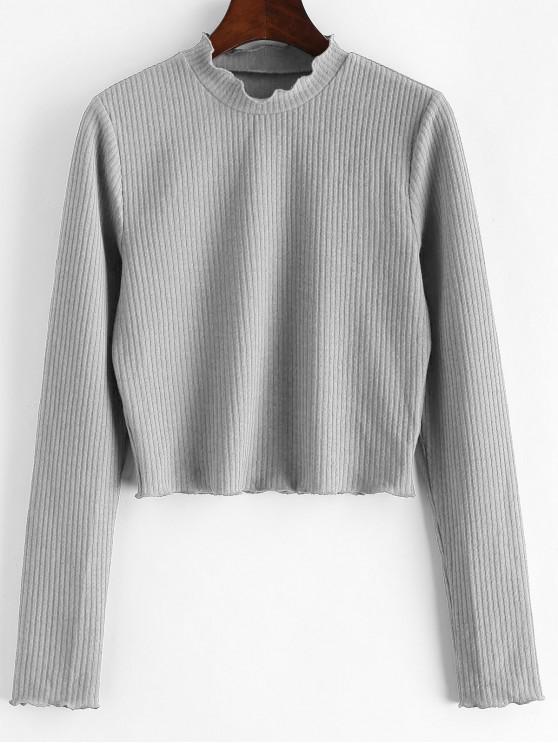 ZAFUL T-shirt Court en Couleur Unie à Ourlet en Laitue - Gris Clair XL