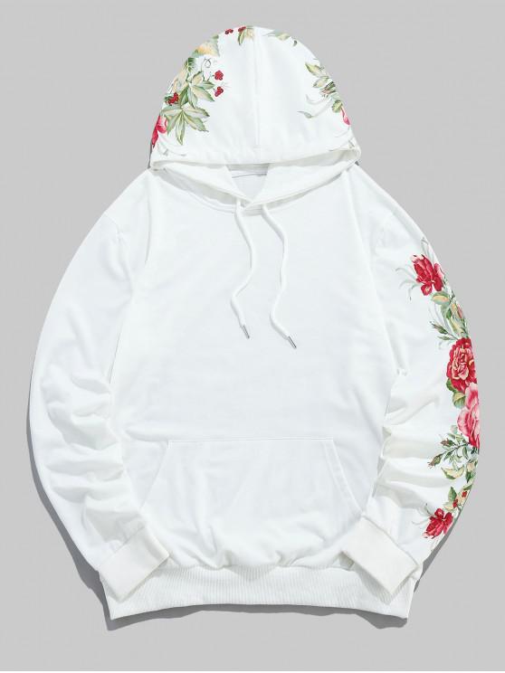 best ZAFUL Floral Leaf Printed Casual Pocket Hoodie - MILK WHITE S