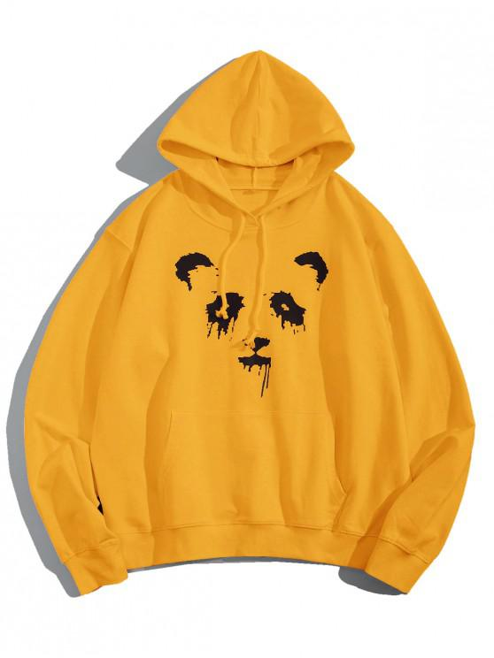 women's Panda Ink Graphic Front Pocket Drawstring Hoodie - YELLOW M