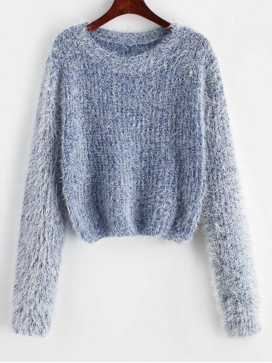 shops Pullover Fuzzy Heathered Sweater - BLUE ONE SIZE