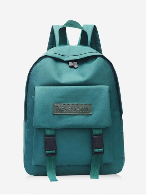 fashion Waterproof Solid Student Backpack - DARK GREEN