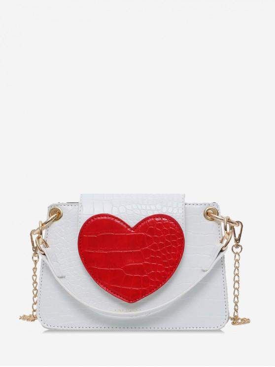 lady Heart Pattern Shoulder Bag - WHITE