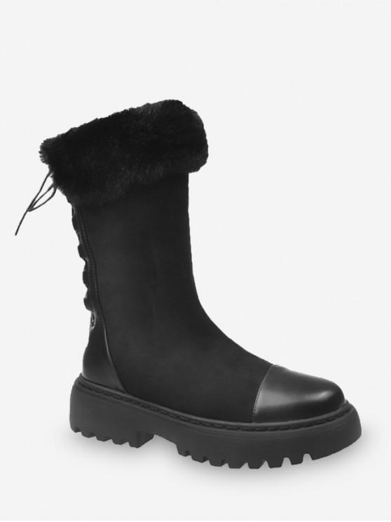 模糊領回接羊毛中秋節小牛靴 - 黑色 歐盟38