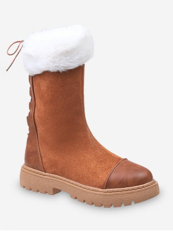 模糊領回接羊毛中秋節小牛靴 - 深褐色 歐盟39