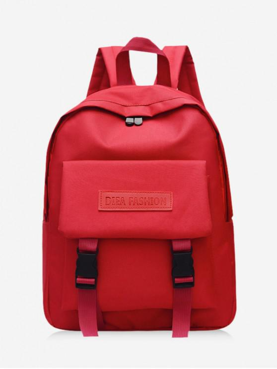 fancy Waterproof Solid Student Backpack - ROSSO RED