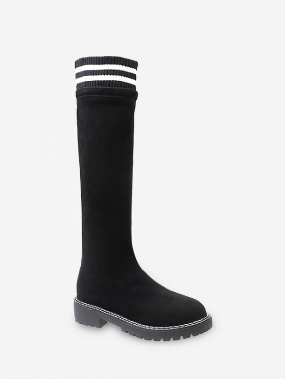 buy Striped Collar Slip On Knee High Boots - BLACK EU 35