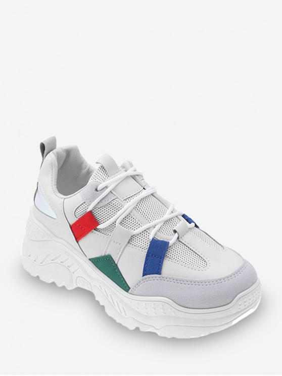 hot Color-blocking Breathable Outdoor Chunky Sneakers - BEIGE EU 40