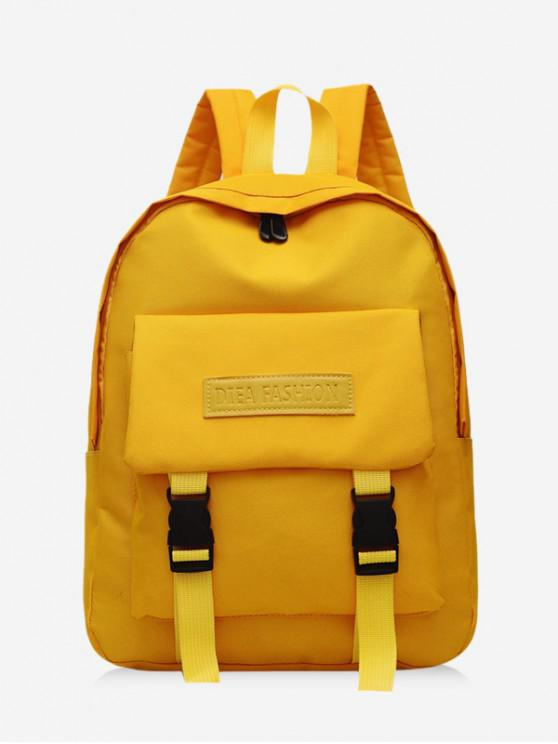 latest Waterproof Solid Student Backpack - SUN YELLOW