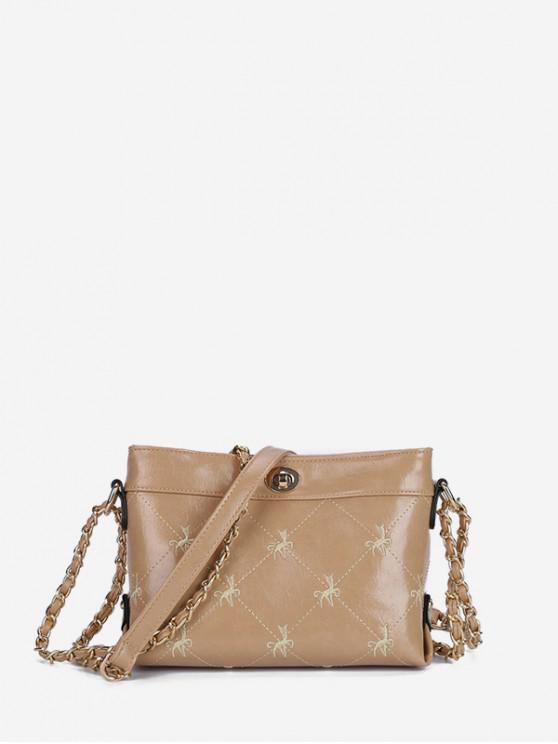 繡花搭扣鏈條單肩包 - 駱駝棕色