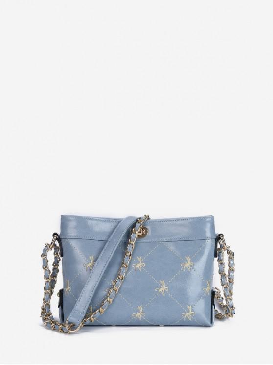 women's Embroidered Hasp Chain Shoulder Bag - LIGHT SKY BLUE