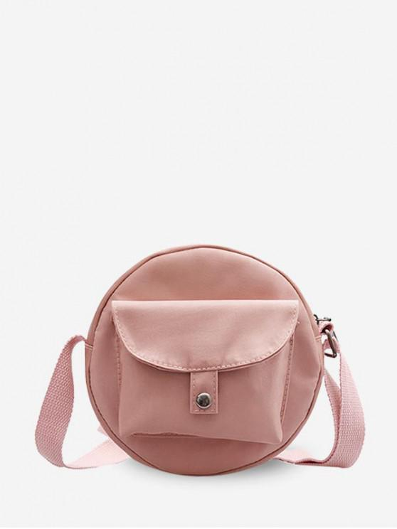 lady Round Solid Pocket Canvas Shoulder Bag - PINK ROSE