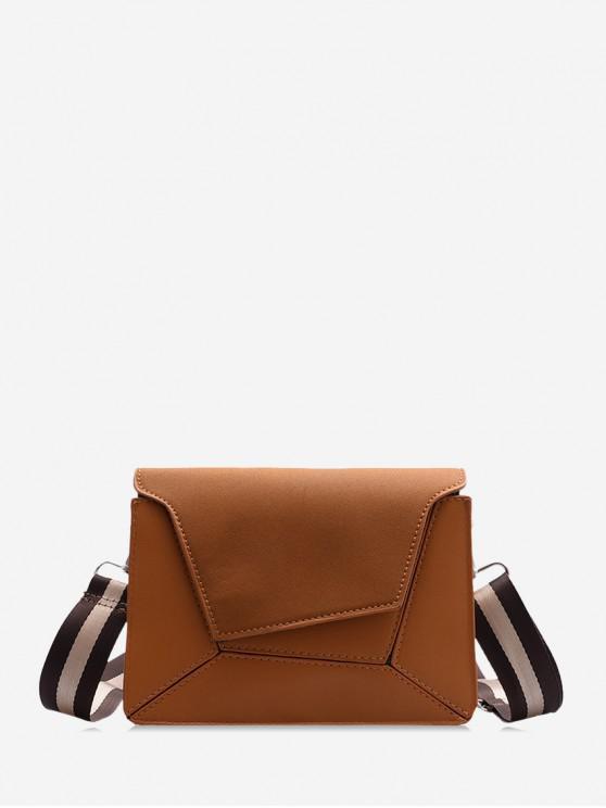 hot Suede Geometric Crossbody Shoulder Bag - BROWN