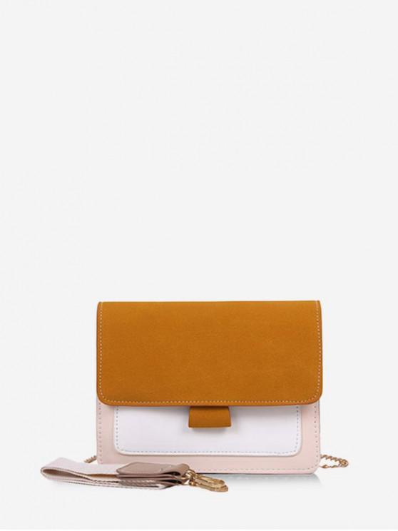 shop Convertible Strap Color-blocking Square Crossbody Bag - BEE YELLOW