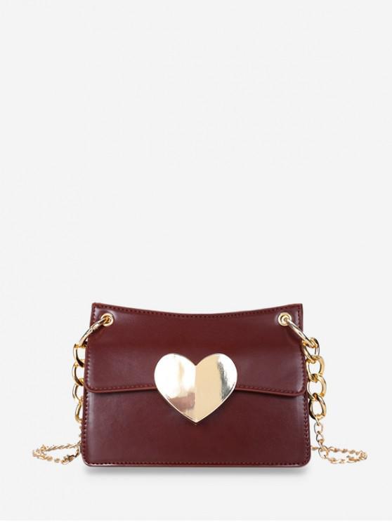 shops Heart Hasp Shoulder Bag - RED WINE