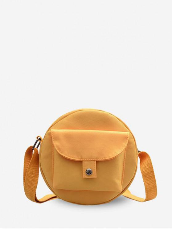 fancy Round Solid Pocket Canvas Shoulder Bag - SAFFRON