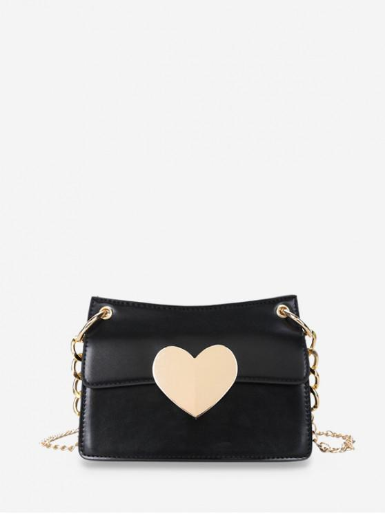 ladies Heart Hasp Shoulder Bag - BLACK