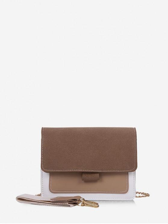lady Convertible Strap Color-blocking Square Crossbody Bag - DARK KHAKI