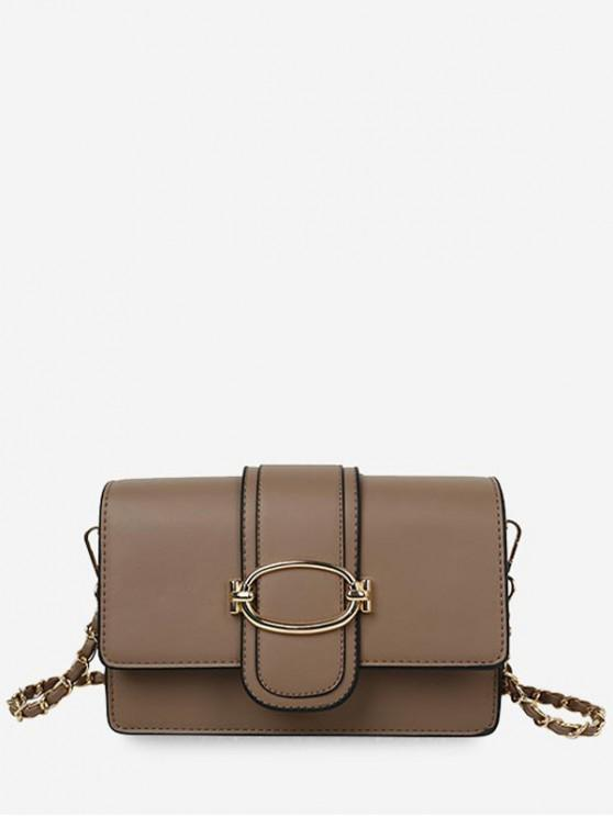 outfits Leather Solid Chain Shoulder Bag - KHAKI