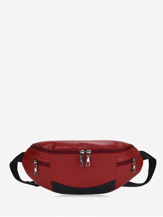 unique Expansion Pockets Crossbody Waist Bag - RED WINE
