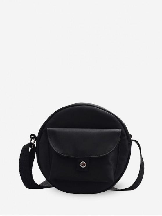 affordable Round Solid Pocket Canvas Shoulder Bag - BLACK
