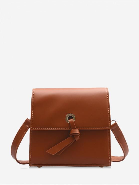 buy Knot Accent Mini Leather Crossbody Bag - LIGHT BROWN