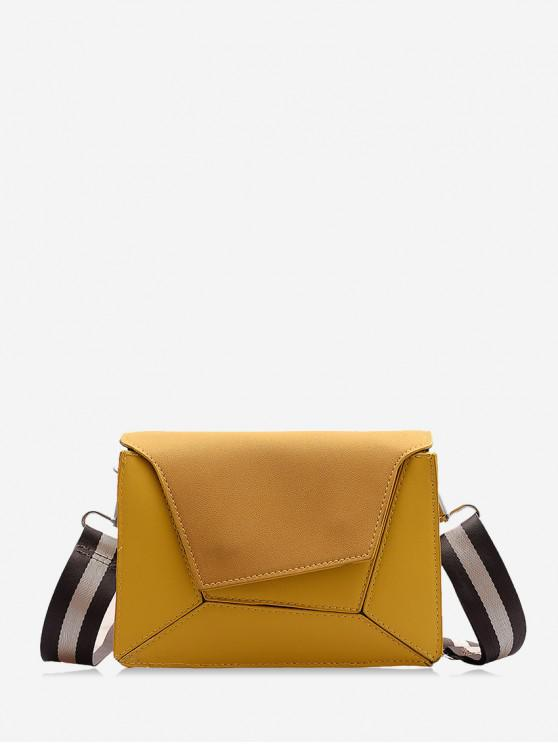 絨面幾何斜挎單肩包 - 蜜蜂黃色