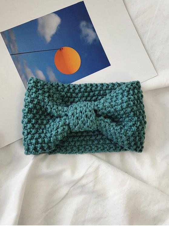 best Solid Bowknot Knitted Headband - GREEN