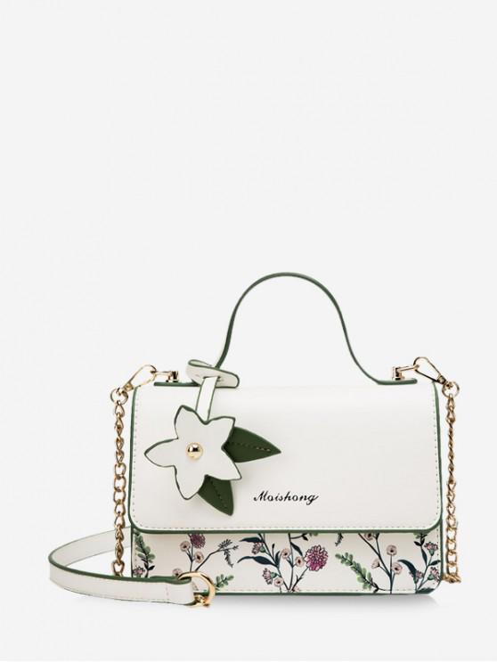 outfits Flower Print Shoulder Bag - MILK WHITE